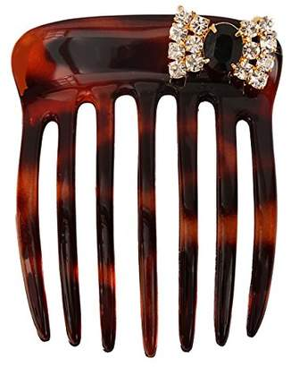 Caravan Chignon Comb Hand Decorated with Bow in Jet & Crystal Stone