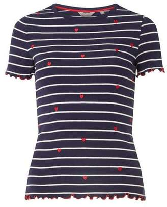 Dorothy Perkins Womens Petite Navy Striped T-Shirt