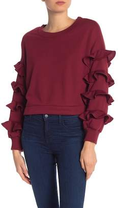 OOBERSWANK Ruffled Crew Neck Sweater