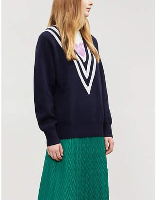 Sandro Contrast stripe V-neck knitted jumper