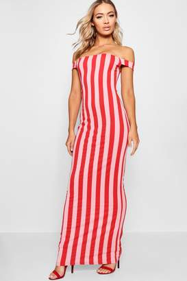 boohoo Stripe Print Bardot Jersey Maxi Dress