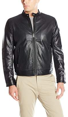 London Men's Lamb Touch Perforated Zip Front Cropped Jacket