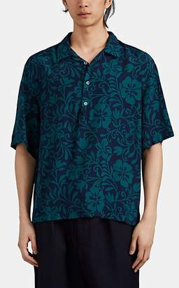 Barena Venezia Men's Hibiscus-Print Plain-Weave Popover Shirt - Navy