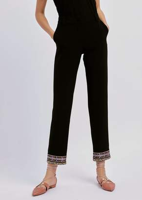 Emporio Armani Pants In Techno Tricotine With Bead Embroidery On The Hem
