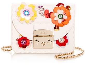 Furla Metropolis Clivia Mini Floral-Embellished Leather Crossbody