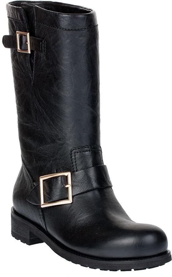 Jimmy Choo Black leather biker boot