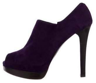Stuart Weitzman Suede Peep-Toe Ankle Boots