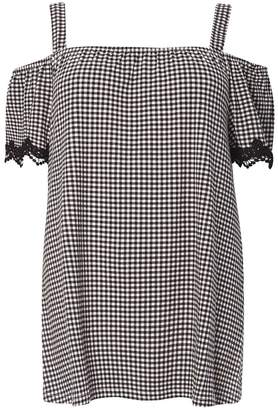 Dorothy Perkins DP Curve Lace Gingham Bardot Top