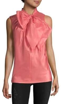 Oscar de la Renta Tie Neck Sleeveless Silk Blouse