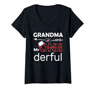 Buffalo David Bitton Womens Grandma of Mr Onederful Shirt 1st Birthday Boy Plaid V-Neck T-Shirt