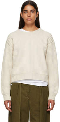 Acne Studios Beige Wool Rib Crewneck Sweater