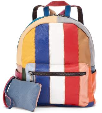 Amerileather AmeriLeather Berne Leather Striped Patchwork Backpack with Coin Purse