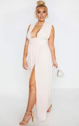 PrettyLittleThing Plus Peach Ruched Plunge Maxi Dress