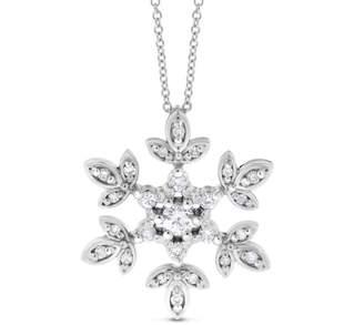 14k White Gold 0.30 Ct. Natural Diamond Snowflake Pendant