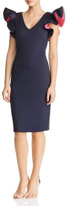 Eliza J Ruffled Scuba Dress