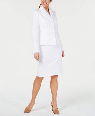 Le Suit Chiffon-Trim Jacquard Skirt Suit