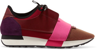 Balenciaga - Race Runner Leather, Mesh, Suede And Neoprene Sneakers - Burgundy $645 thestylecure.com