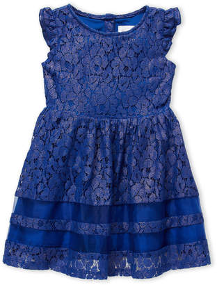 Us Angels Toddler Girls) Metallic Lace Fit & Flare Dress