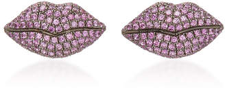 Colette Jewelry 18K Gold And Pink Sapphire Lip Earrings