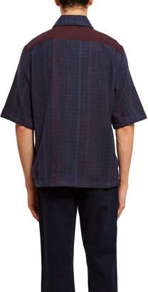 Acne Studios Panelled Cotton-Flannel Button Down