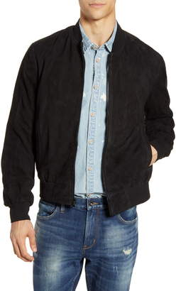 John Varvatos Noel Regular Fit Suede Bomber Jacket
