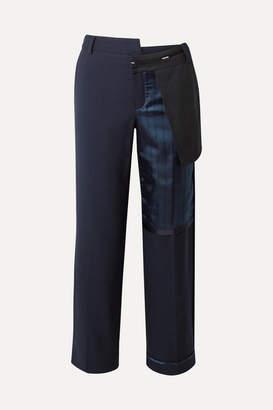 Monse Paneled Wool-blend And Striped Satin Straight-leg Pants - Navy