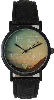 OLIVIA PRATT Olivia Pratt Womens Black The Best Is Yet To Come Multi-Color Dial Black Leather Strap Watch 15117