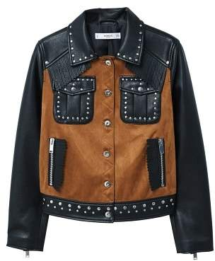 MANGO Studded mixed jacket