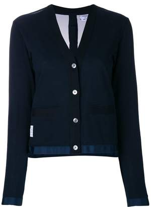 Thom Browne Pique Sheer Back V-Neck Cardigan