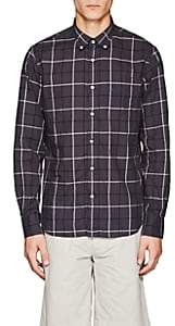 Officine Generale MEN'S PLAID COTTON POPLIN BUTTON-DOWN SHIRT-DARK GRAY SIZE S