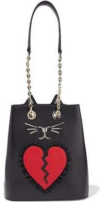 Charlotte Olympia Broken Heart Feline Appliquéd Leather Bucket Bag