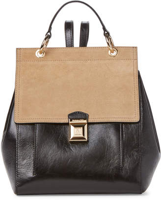 Patrizia Pepe Black & Spring Beige Leather Backpack