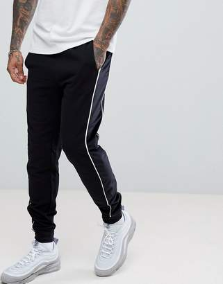 Asos Slim Joggers With Velour Panel In Black