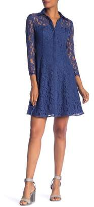 Nanette Lepore NANETTE Collared Lace Shirt Dress