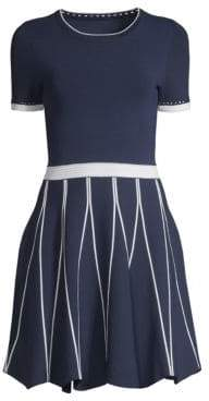 Shoshanna Women's Tinsley Short Sleeve A-Line Dress - Navy White - Size XS