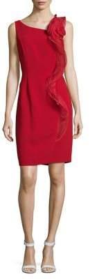 Karl Lagerfeld Paris Mesh Ruffle Knee-Length Dress