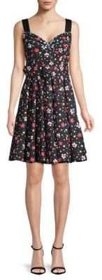 Marc Jacobs Floral-Print Belted A-Line Dress
