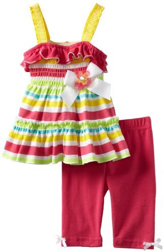 Little Lass Baby-Girls Infant 2 Piece Smocked Ruffle Skimmer Set