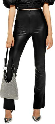 Topshop Faux Leather Flare Pants