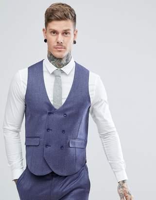 Asos DESIGN WEDDING Slim Suit Vest in Deep Blue 100% Merino Wool