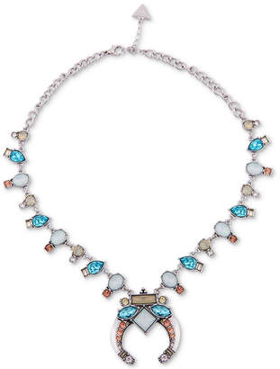 "GUESS Silver-Tone Multi-Stone Statement Necklace, 18"" + 2"" extender"