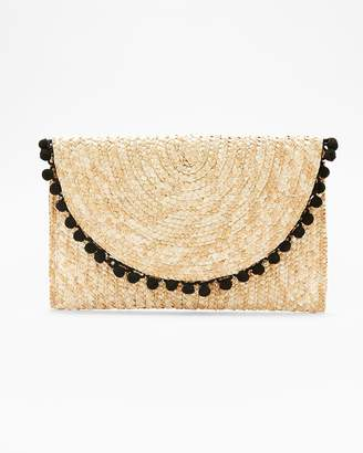 Express Shiraleah Black Braided Pom Trim Clutch