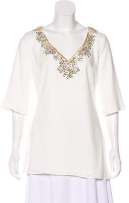 Marchesa Embellished Short Sleeve Top w/ Tags
