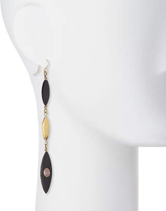 Ashley Pittman Tarabu Linear Dark Horn & Bronze Drop Earrings