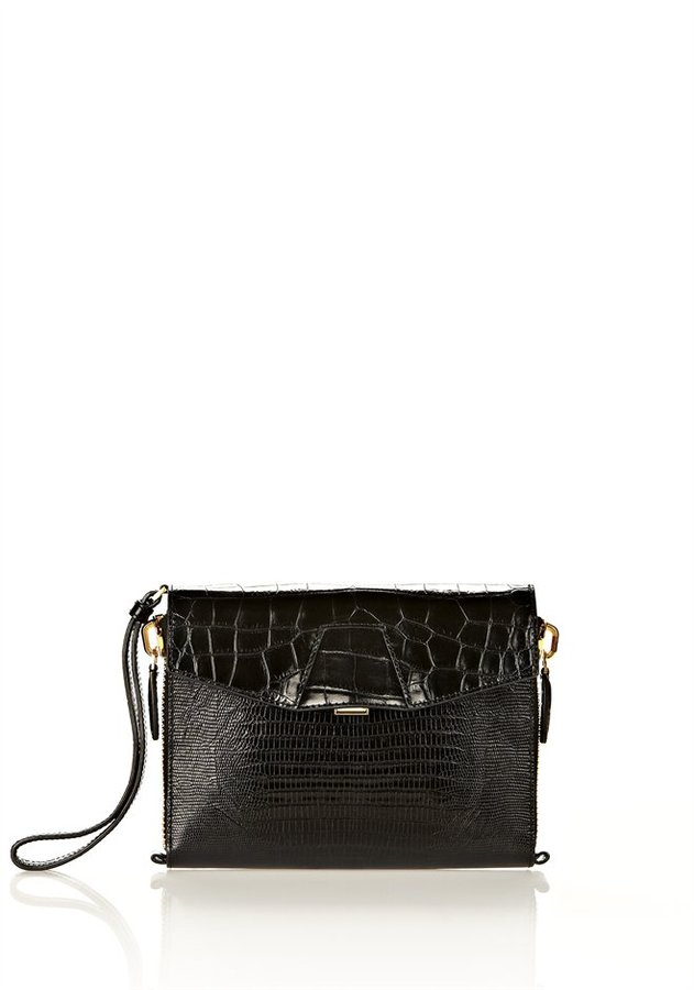 Alexander Wang Lydia In Printed Blackleather With Yellow Gold