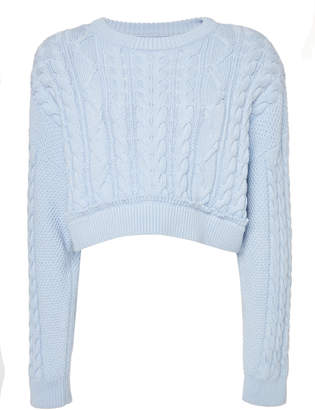 RE/DONE Cropped Cotton And Cashmere Cable-Knit Sweater