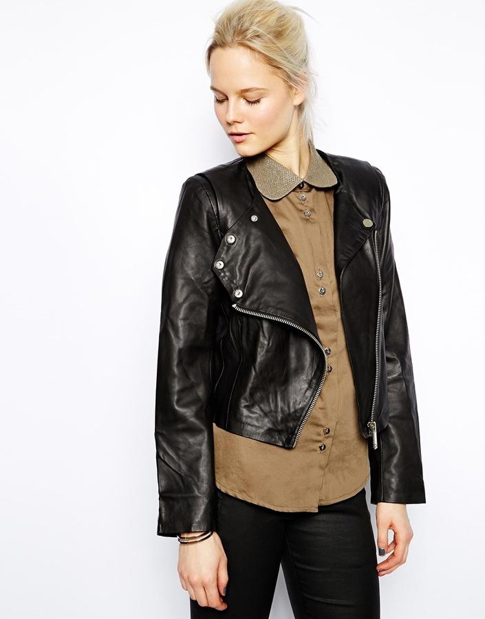 Twenty8Twelve Rae Leather Biker Jacket - Black