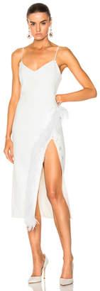 David Koma Side Split Feather Trim Midi Dress