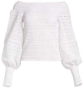 Oscar de la Renta Off-The-Shoulder Crochet Balloon Sleeve Top