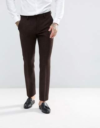 Asos DESIGN Slim Suit Pants in 100% Wool Harris Tweed Herringbone In Brown